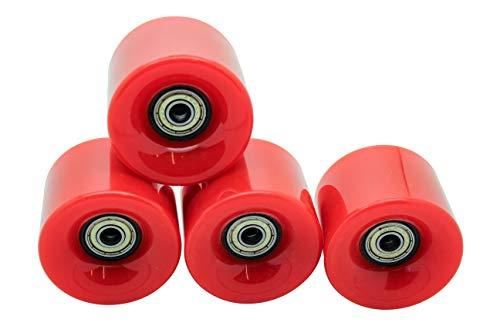 Set di 4 ruote da skateboard lisce, stile retro, 59 mm, 78A, con cuscinetto, perfette per cruiser in plastica - rosso