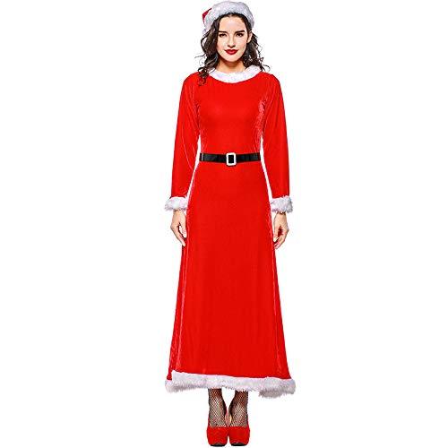 HHFF Erwachsene, Santa Kostüm 2018 Weihnachten Kleid Weihnachten Etikette Dame Runde Hals Langarm Temperament Rock EL-Kleid Dress Up (Santa Rock Kostüm)
