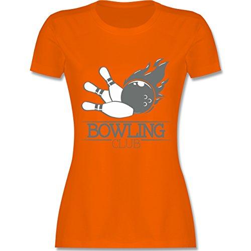 Bowling & Kegeln - Bowling Club Ball Flamme - tailliertes Premium T-Shirt mit Rundhalsausschnitt für Damen Orange