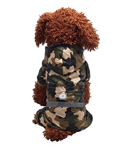 YiJee Haustier Regenmantel Regenjacke Hunderegenmantel Wasserdicht Kleidung mit Reflektierende Streifen Tarnung XS