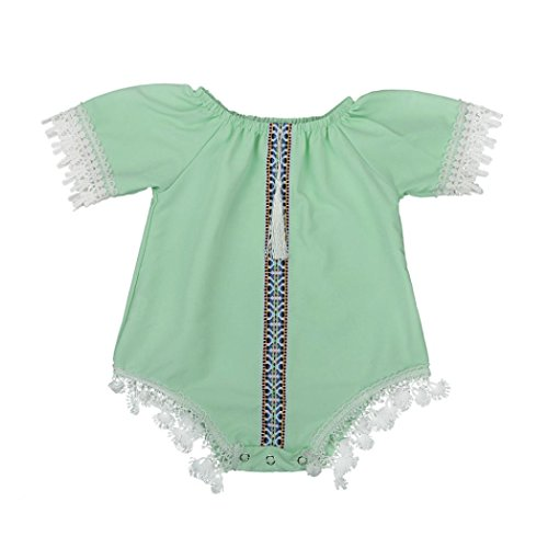 Bekleidung Longra Sommer ärmellose Strampler Mädchen junge Kind Baby Overall florale Kleidung Outfits (0-4Jahre) (70CM 6Monate, Mint Green)
