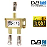 Eurosell - Partitore coassiale per digitale terrestre DVBT/DVBT2/DVBC con amplificatore e spinotti