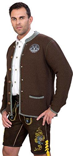 Almwerk Herren Trachten Strick Jacke Modell Ludwig, Größe Herren:50 - L - Bundweite 86-89 cm;Farbe:Braun - 2