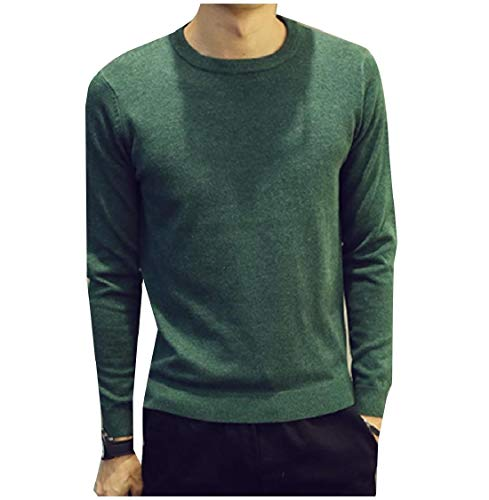 CuteRose Men Long-Sleeve Crew-Neck Knit Solid-Colored Pullover Knitwear Green M (Pullover Wool Green Crewneck)