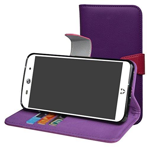 Mama Mouth WileyFox Swift 2 / Swift 2 Plus Hülle, Brieftasche Schutzhülle Case Hülle mit Kartenfächer & Standfunktion für WileyFox Swift 2 / Swift 2 Plus Smartphone,Violett