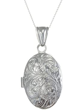 Klassisches 925 Sterling Silber Damen - Medaillon - 34mm*18mm, 6 Gramm