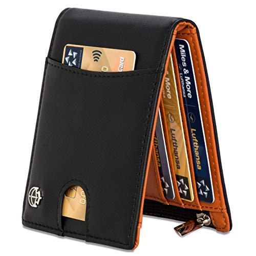 Noah Noir Geldbeutel mit Geldklammer und Münzfach 11 Kartenfächer TÜV geprüft RFID Schutz - Ideal als Geschenk für Herren - Geldbörse mit Edler Geschenkbox - Tiger