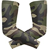 Wamika Arm Sleeve For Men Women Camouflage Green Forest Uv Protection Cooling Long Sports Compression Arms Cover Tattoo Sleeves Perfect For Baseball Football Basketball Running - 1 Pair