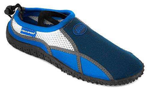 Aqua-shoes Aqua-speed® Modello 17 A / B (35-45 Struttura Unisex Antiscivolo Coulisse Piscina Piscina + Portachiavi Up®) Colore 01 / Blu