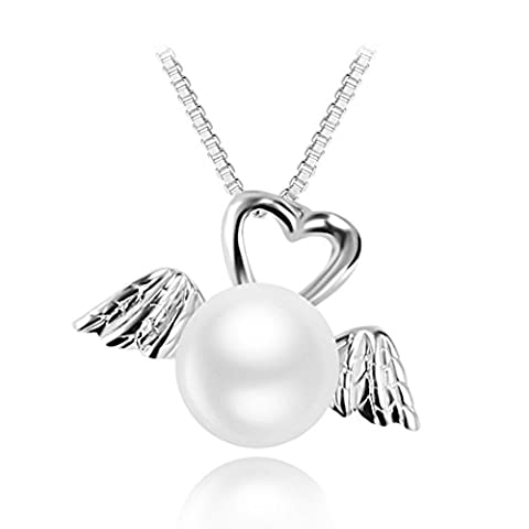 JiangXin Pearl 925 Sterling Silver Angel Wings Pendant Necklace for