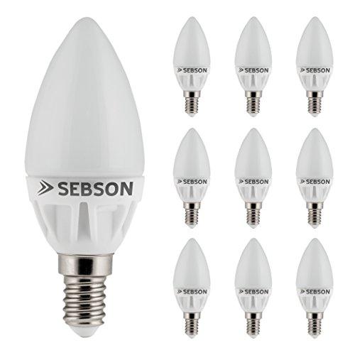SEBSON 10er-Pack E14 LED 5W Lampe Kerze - vgl. 40W Glühlampe - 400 Lumen - E14 LED warmweiß - LED Leuchtmittel 160° 160 Lumen Led