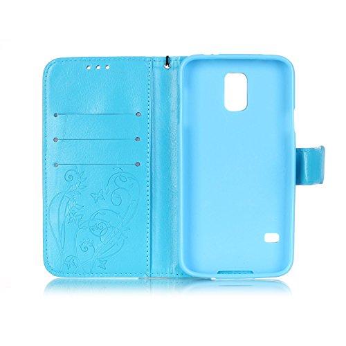 Prägen Blumen-Case, Magnetverschluss Synthetische PU-Leder-Kasten-Abdeckung mit hängenden Seil und Wallet-Funktion für Samsung S5 ( Color : Pink , Size : Samsung S5 ) Blue