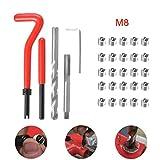 Kit de inserción de alambre de reparación de rosca de 30 piezas, juego de reparación de bobina helicoidal para automóvil (M8 x 1.25mm)