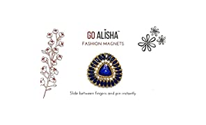 Go Alisha Magnetic Brooch Pin For Styling Scarves, Stoles and Dupattas - Trilliant (1 Pair) Strongest Fashion Magnets - Adds A Beautiful Accent To Your Kurti Or Top As A Pendant. Also Used As Hijab Pin Magnet.