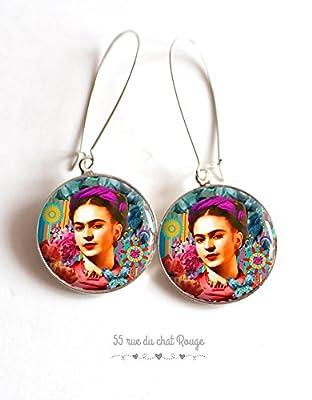 Boucles d'oreilles cabochon Portrait Frida Kahlo, Mexique, Bohême chic, gypsy, multicouleur