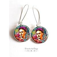 Orecchini Cabochon Ritratto Frida Kahlo, Messico, chic bohemien, zingaro, multicolore