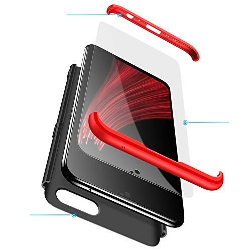 MEVIS Oppo F7 Hülle,360 Grad hülle Fullbody case+(1*Hartglas Glasfilm Schutzfolie) 3 in 1 Ultra dünner pc Hardcase Scratch und Shockproof-Rot schwarz