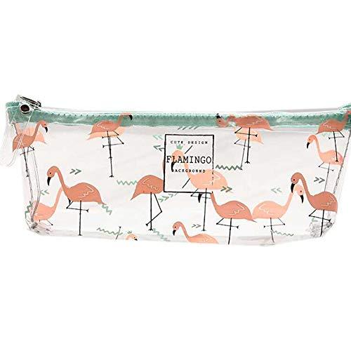 Estuche de papelería transparente para lápices de dibujos animados y cosméticos impermeables, bolsa de maquillaje para niñas, niños y flamencos Medium rosso