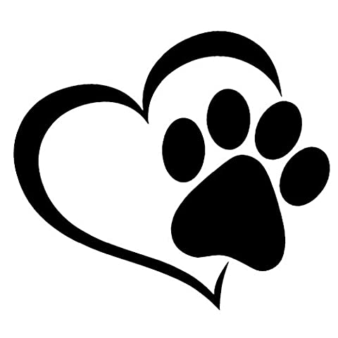 RUNakan Pet Paw Print With Heart Dog Cat Vinyl Decal