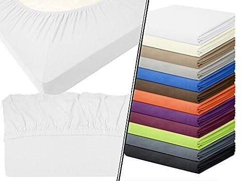 Jersey-Spannbetttuch in Top-Qualität - mit einer Steghöhe von ca. 35 cm - 100% Baumwolle - erhältlich in 6 verschiedenen Größen und 12 ausgesuchten Farben, 1 Stück - Jersey-Spannbetttuch ca. 180-200 x 200 cm, weiß