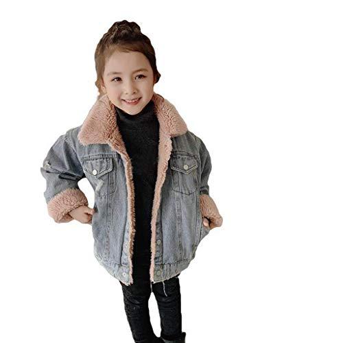 MäDchen Mit Kapuze Baumwolle Mantel Jacke Jacke Mit Kindern Kleine Lamm Haarfarbe Passend Dicke Jeansjacke Geladen blau 130