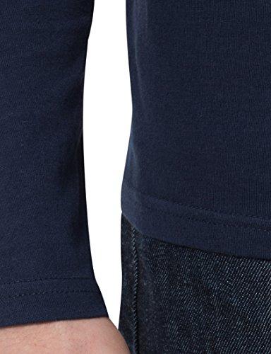 Lower East Herren Langarmshirt mit Rundhals-Ausschnitt, in Verschiedenen Farben 5er Pack Dunkelblau