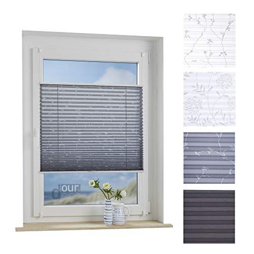 ourdeco® Plissee / 90 x 130 cm Grau, bedrucktes Blumenmotiv Ranke/lichtdurchlässig, Blickdicht/Farbe: Grau Ranke/Klemmen=Montage ohne Bohren=Smartfix=Klemmfix-Plissee=Easy-to-fix