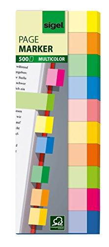 Sigel HN682 Haftmarker, 500 Mini-Streifen, 10 Farben im Format 15 x 50 mm - auch in Folie