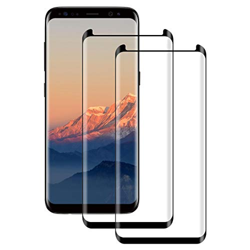 DONSTO 3D Volldeckung Displayschutzfolie für Samsung Galaxy S8 Panzerglas Schutzfolie Anti-Kratzen, [2 Stück] Full Cover Screen Protector Compatible with 3D Touch Samsung Galaxy S8 [Anti-Öl] Screen Protector Cover