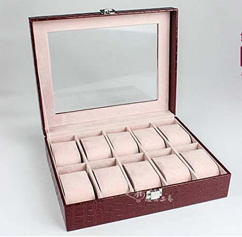 WOOLIY Watch Box Lunettes Porte-boîte à Bijoux Cadeau pour Hommes Femmes/Organisateur de Rangement en Cuir PU verrouillable