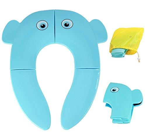 Pieghevole wc riduttori per bambini, tovee vasino da viaggio portatile antiscivolo con borsa, blu