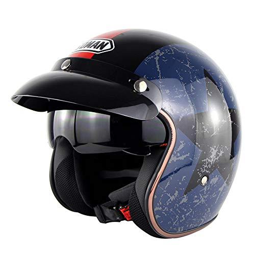 MENUDOWN Vintage FüR Halley Helm Elektro-Fahrrad Motorrad-Helm 3/4 Jethelm Mit Sonnenbrille Dot Genehmigt Jet Motorrad Helm GüRtel Enteroscopic Blase Spiegel Maske Brille,CaptainAmerica-L