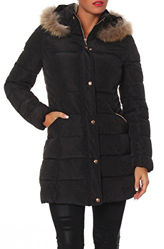 SKUTARI Luxus Designer Damen Steppmantel Mantel Parka Echtfell Four Fell Jacke Daunen Look Winter , (Farbe Schwarz, Größe S)