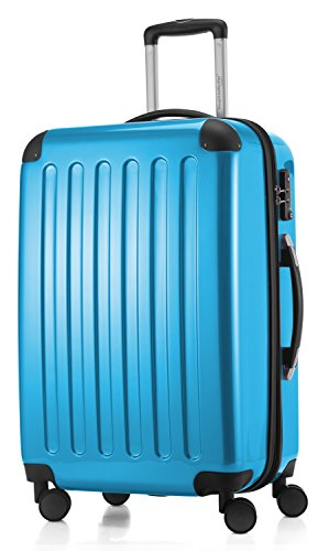 HAUPTSTADTKOFFER - Alex -  4 Doppel-Rollen Hartschalen-Koffer Koffer Trolley Rollkoffer Reisekoffer, TSA, 65 cm, 74 Liter, Cyanblau