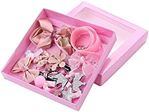 FemmeStopper Mix Style Girls Hair Bows Kits with Full Covered Clips Hairclips Hair Ties Crown Kids' Hair Accessories 18pcs/Set (Pink)
