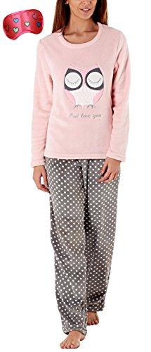 i-Smalls Damen Wunderschönes Weiches Fleece Pyjama Set mit Gesticktem Motiv Top und Bedruckten PJ Unterteile mit Herzdruck Augenmaske (L) Pink (Mantel Set Pj)