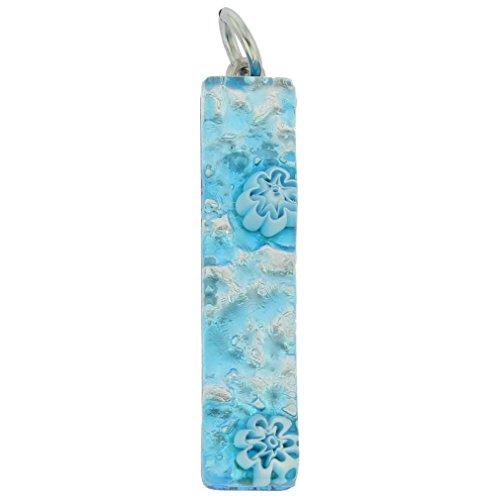 GlassOfVenice Muranoglas Venezianische Reflexionen Stab Anhänger - Aqua Silver