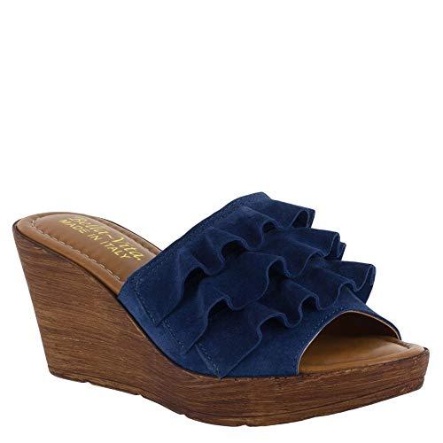 Leder Wrap-around-sandalen (Bella Vita Frauen Flache Sandalen Blau Groesse 5.5 US /36 EU)
