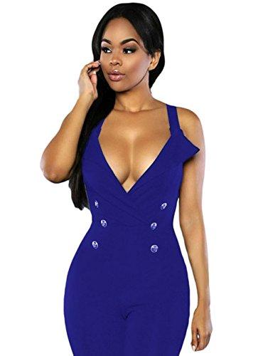 Y-BOA Femme Salopette Col V Bretelle Combinaison Pantalon Jumpsuit Bleu