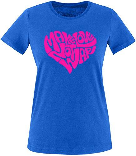 EZYshirt® Make love not war Damen Rundhals T-Shirt Royal/Pink
