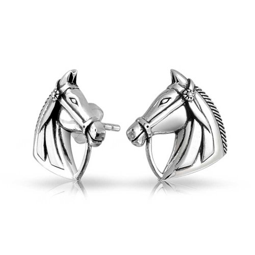 Don equino ecuestre Caballos Cowgirl Stud Pendientes para las mujeres Teen 925 Sterling Silver