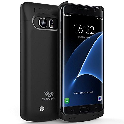 SAVFY® Custodia Cover Protettiva con Batteria Esterna per Samsung Galaxy S7 Edge, Cover batteria da 5200mAh, Power Bank con batteria integrata, Backup Battery Charger Case Nero