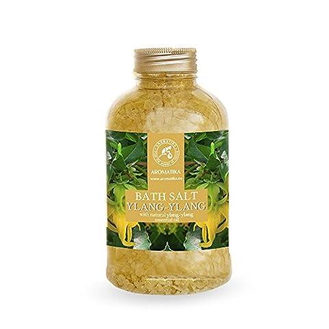 Badesalz Ylang Ylang, Meersalz mit 100 % natürlichem ätherischen Ylang-Ylangöl, natur Bade-Salz am besten für guten Schlaf /Stressabbau / Beauty/ Baden /Körperpflege /Wellness /Schönheit /Entspannung / Aromatherapie/SPA, Badezusatz - 1er Pack (1 x 600 g), von AROMATIKA