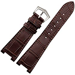 New 25mm Brown Genuine Leather Watch Strap Band Buckle Suitable PP patek philippe 5712R|5711G Replacement