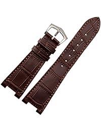 Nuevo 25mm marrón piel auténtica correa para reloj banda hebilla apto PP Patek Philippe 5712g repuesto