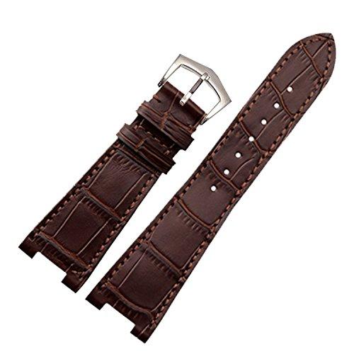 NEU 25mm braun echtes Leder Uhrenarmband Band Schnalle MADE für PP 5712r|5711g Ersatz
