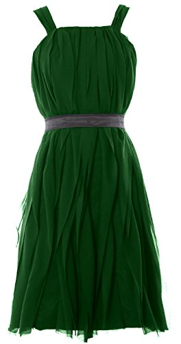 MACloth Women Short Bridesmaid Dress Straps Chiffon Cocktail Party Formal Gown (EU44, Dunkelgrun) (Strapless Scoop)