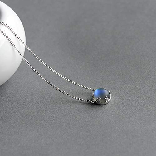 Drotaq - 55cm Aurora Pendant Necklace Halo Crystal Gemstone s925 Silver Scale Light Necklace for Women Elegant Jewelry Gift[Dark] Womens Gift
