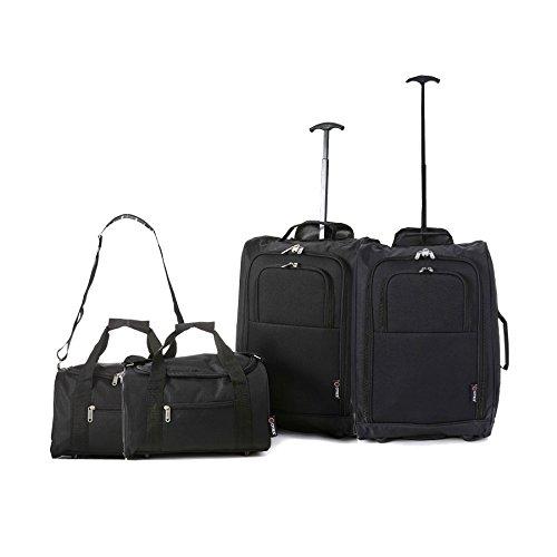 Bagage à main 35x 20x 20certifié Ryanair + valise à roulettes 55x 40x 20cm Multicolore 2 x schwarz 55 cm