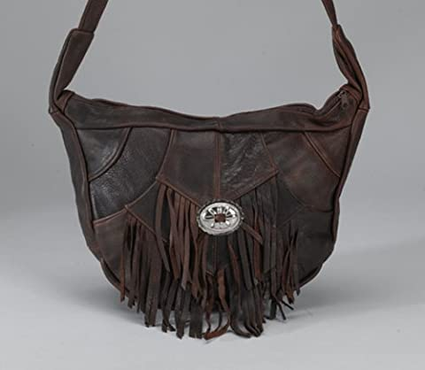 Brown Leather Fringed Saddle Bag with Concho